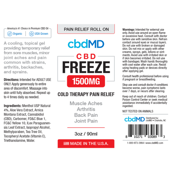 cbdMD Freeze Pain Relief CBD Rollers - 3oz - Great For Arthritis Pain Management -