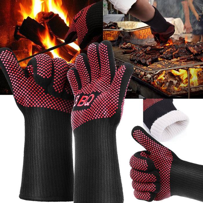 662°F/350°C Heat Proof Resistant Oven BBQ Gloves 35cm Kitchen Cooking Silicone Mitt