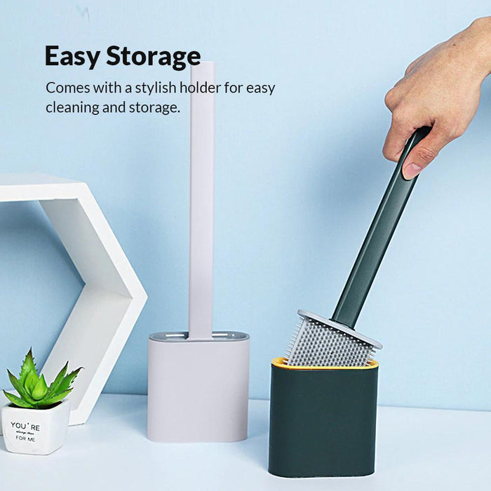 Revolutionary Silicone Flex Toilet Brush With Holder
