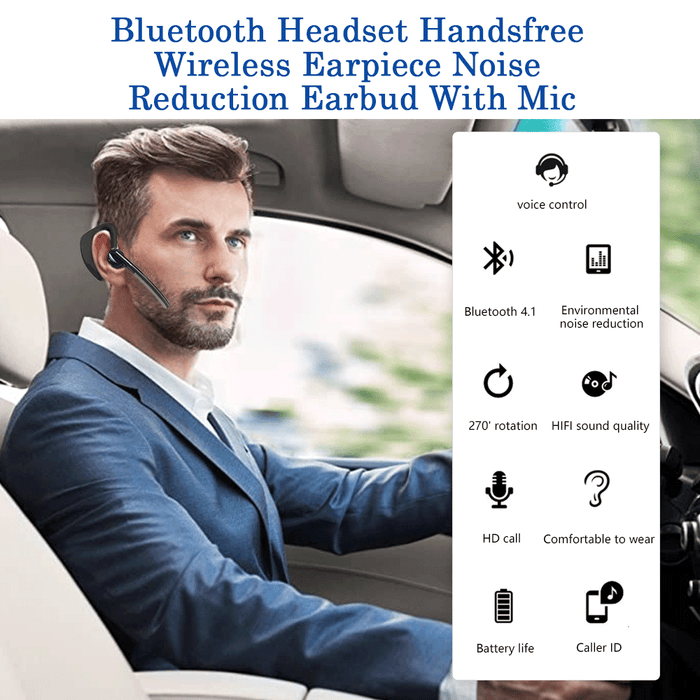 Bluetooth Headset Handsfree Wireless Earpiece Noise Reduction Earbud With Mic - Smart Living Box
