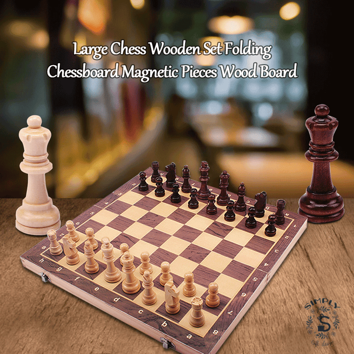 Large Chess Wooden Set Folding Chessboard Magnetic Pieces Wood Board - Smart Living Box
