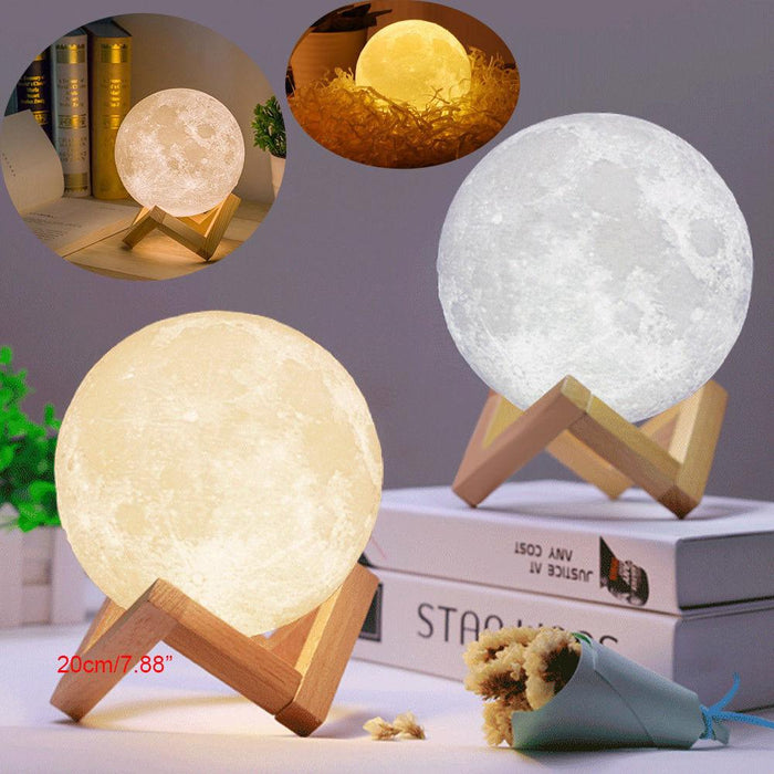 3D Moon Lamp 13 / 15cm Night Desktop Lamp USB Touch Sensor