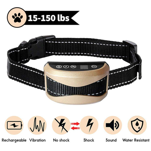 Waterproof Silver Dog Anti Bark Collar Gold Dog Training Collar Rechargeable Shock Electronic Anti Barking Collars For Dogs