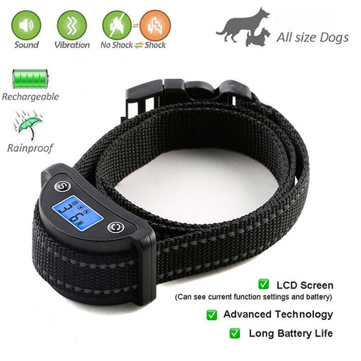 Anti bark control shock dog collar rechargeable dog electric shock anti bark collar vibration barking dog collar with LCD screen