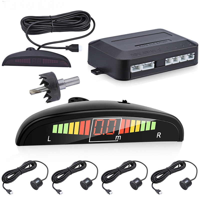 4 Parking Sensors LED Display Car Reverse Radar System Alarm Kit Black