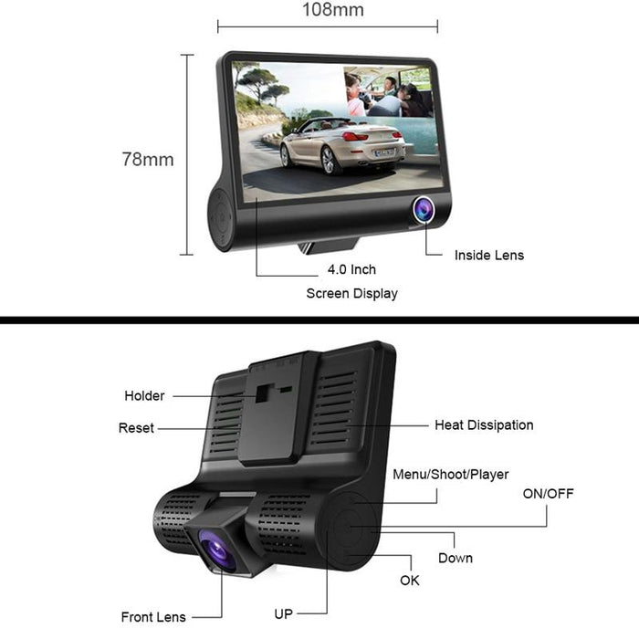 Car DVR 3 Cameras Lens 4.0 Inch Dash Camera Dual Lens With Rear view Camera Video Recorder Auto Registrator Dvrs Dash Cam