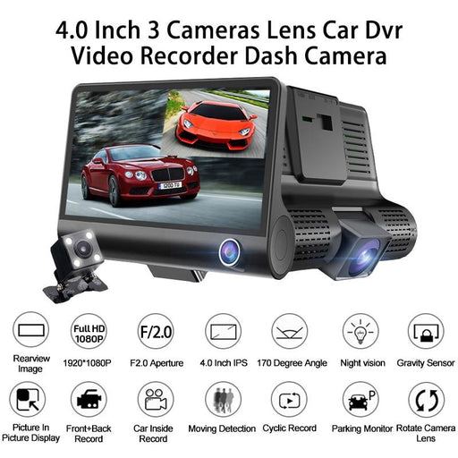 Car DVR 3 Cameras Lens 4.0 Inch Dash Camera Dual Lens With Rear view - Smart Living Box