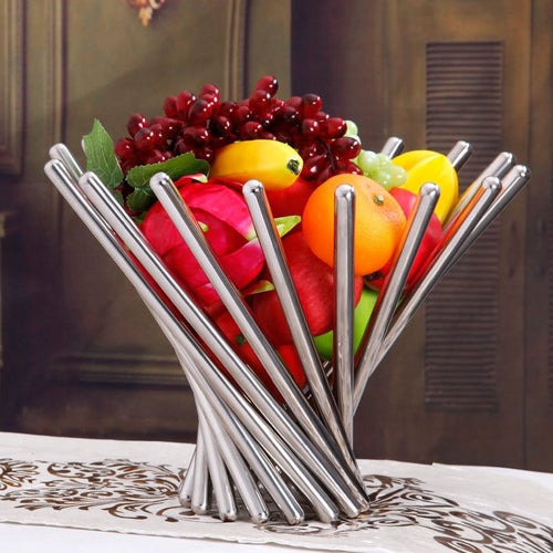 Stainless Steel Fruit Plate Creative Fruit Basket Vortex Tray Holder Personalized Da Vinci Fruit Bowl Dishes & Plates Sliver Fruit Plate - Smart Living Box