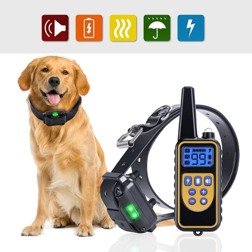800m Electric Dog Training Collar Pet Remote Control Rechargeable with LCD Display for All Size Shock Vibration Sound