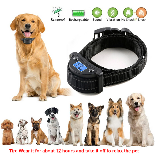 Anti bark control shock dog collar rechargeable dog electric shock anti bark collar vibration barking dog collar with LCD screen - Smart Living Box