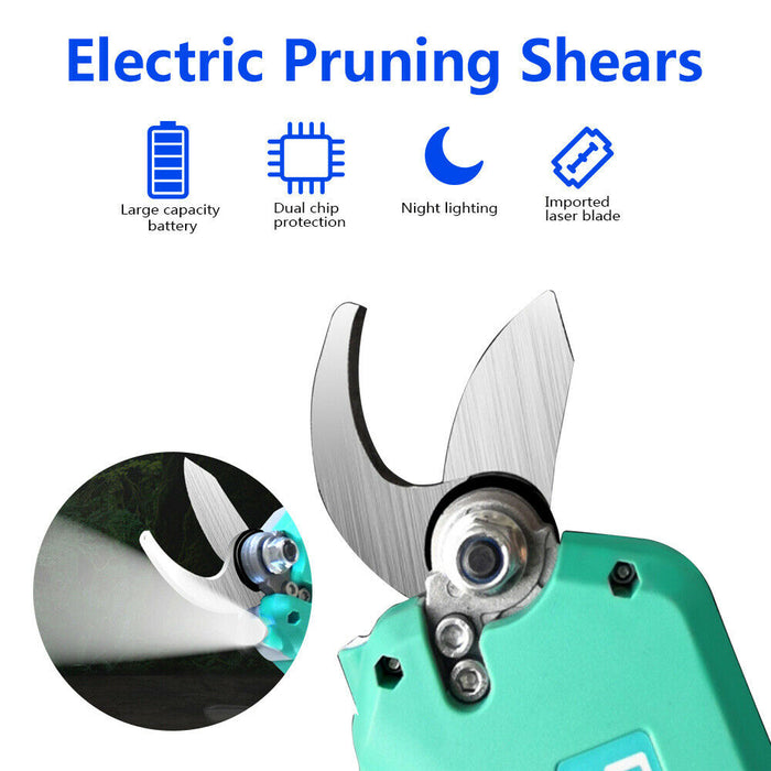 21V Electric Cordless Rechargeable Pruning Shears Secateur Branch Cutter Kit