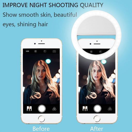 Selfie Portable LED Light Ring Fill Camera Flash For Mobile Phone iPhone Samsung