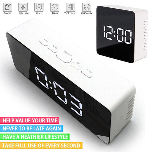 Creative LED Digital Alarm Clock Night Light Thermometer Display Mirror Lamp Hot
