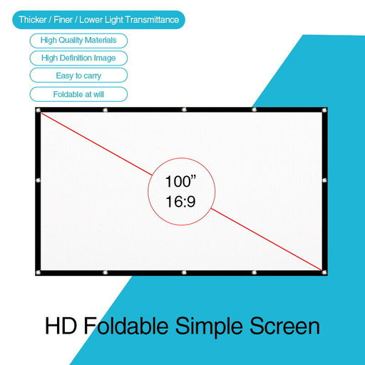 100'' Portable Foldable Projector Screen 16:9 Home Cinema Outdoor Projection HD