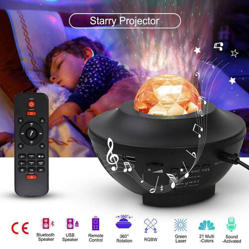 LED Galaxy Starry Night Light Projector Ocean Star Sky Party Baby Room Lamp Gift - Smart Living Box