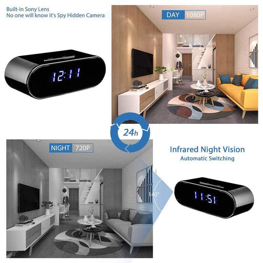 Remotely Table Clock 1080P WIFI Mini Camera Time Alarm P2P IP/AP Security Night Vision Motion Sensor Remote Monitor Micro Home