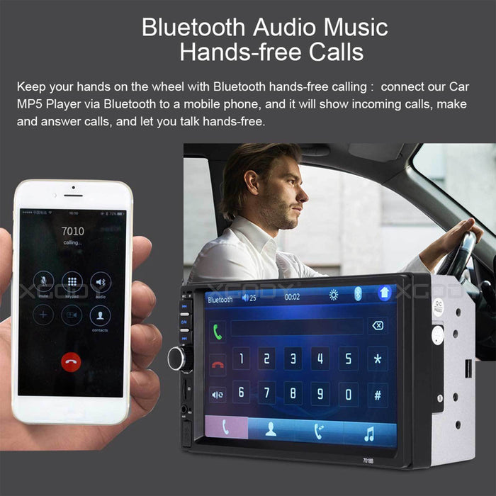 "New 7"" 2 Din Touch Screen Car MP5 Player Bluetooth Stereo FM Radio USB/TF AUX In - Smart Living Box"
