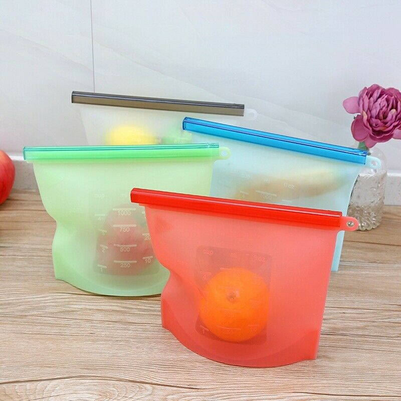 Silicone Food Storage Bags Set Wraps Fresh Saver Bag Reusable Seal Pouch