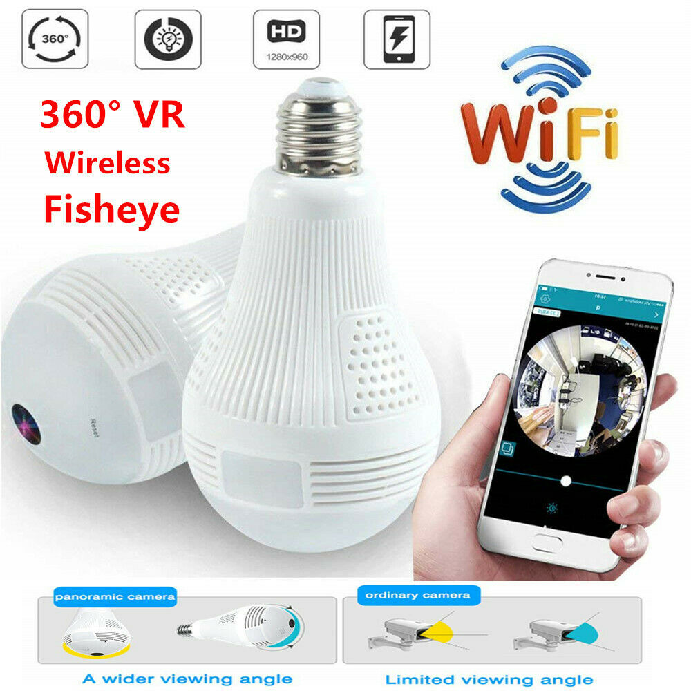 HD Home 360° Panoramic WiFi Fisheye Bulb Hidden Camera IR Light Security Monitor - Smart Living Box