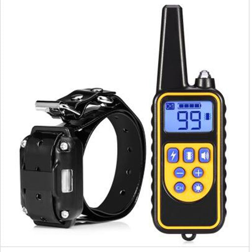 800M Waterproof Remote Control Dog Electric Training Collar - BLACK