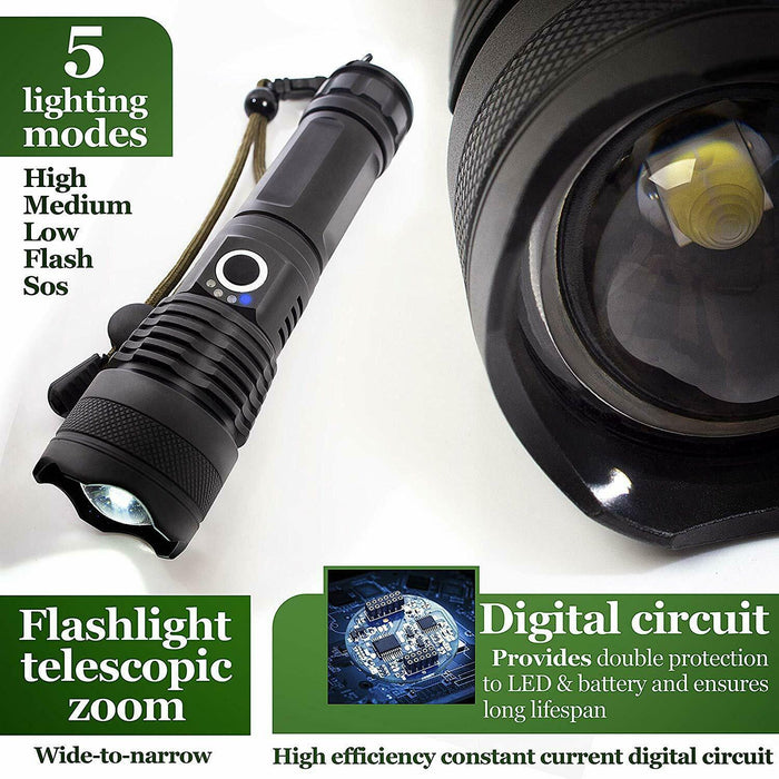 High Power 900000Lumens XHP50 Zoom Flashlight LED Rechargeable Torch Headlamp