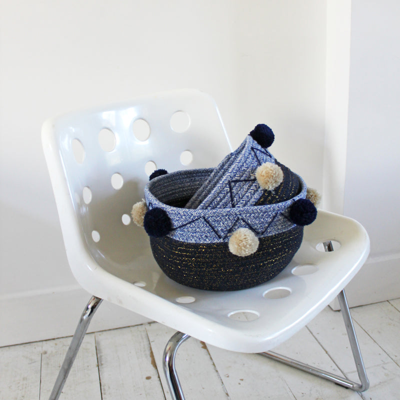 Set Of 2 Navy Rope Baskets