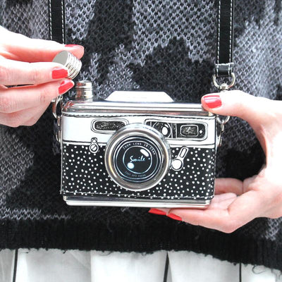 Black And White Camera Hip Flask