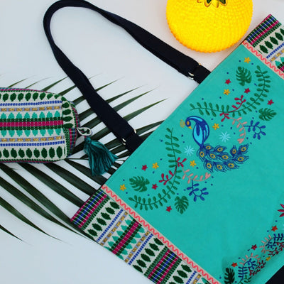 Peacock Embroidered Shopper