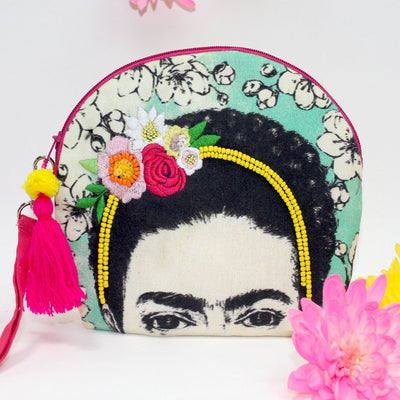 Frida Kahlo Emrboidered Make Up Bag - House of Disaster