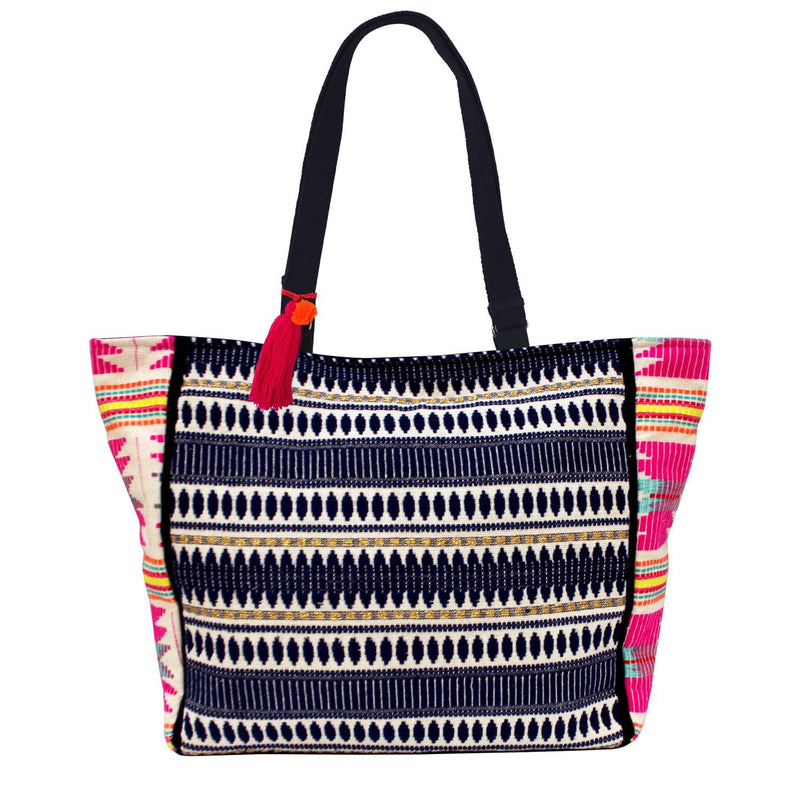 Navy Emrboidered Shopper