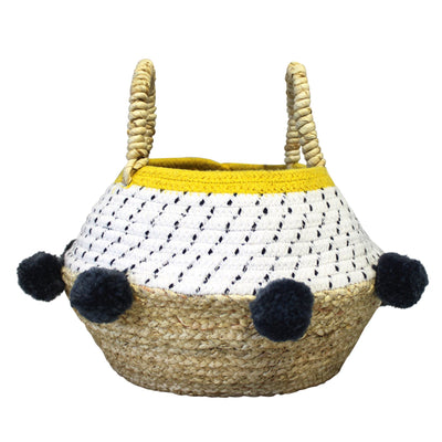 Grey Pom Pom Rope Basket - House of Disaster