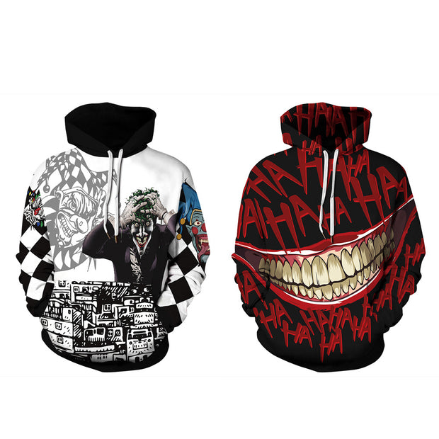 Clown digital print casual Pullover long sleeve Hooded Sweater autumn winter large coat