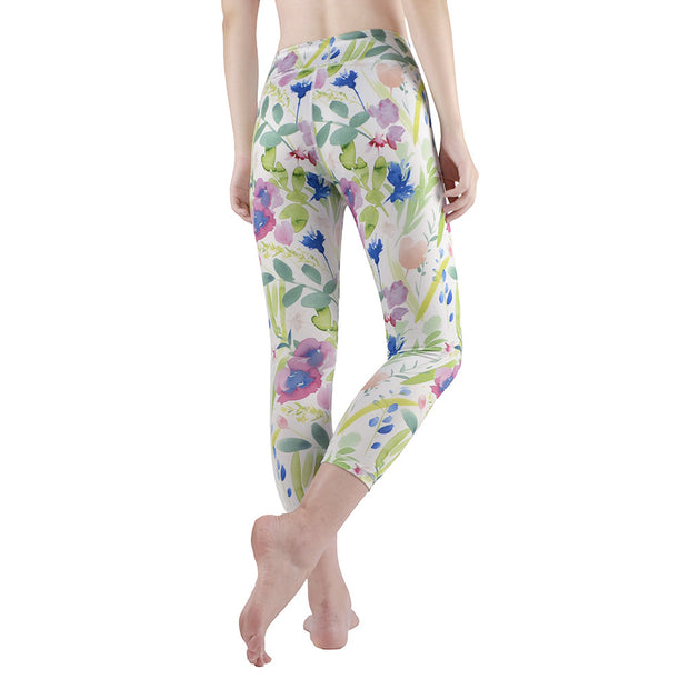 Printed Yoga Pants running fitness pants women's elastic Capris