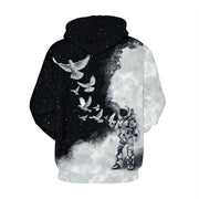New Star Digital Print Long Sleeve Pullover Hooded Sweater bomber