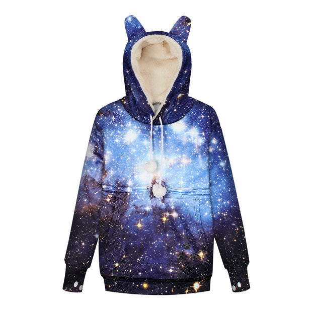 Autumn and winter Plush Star digital printing magic pocket Cat Sweater