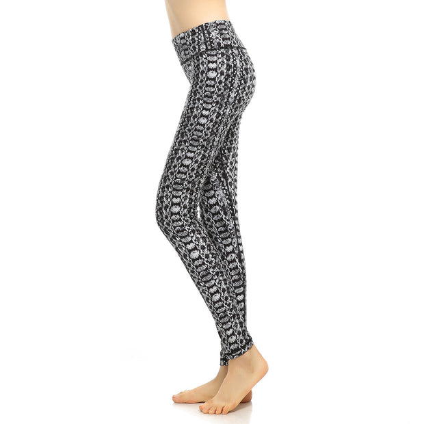 Women's running fitness yoga pants printed tight nine point sports pants