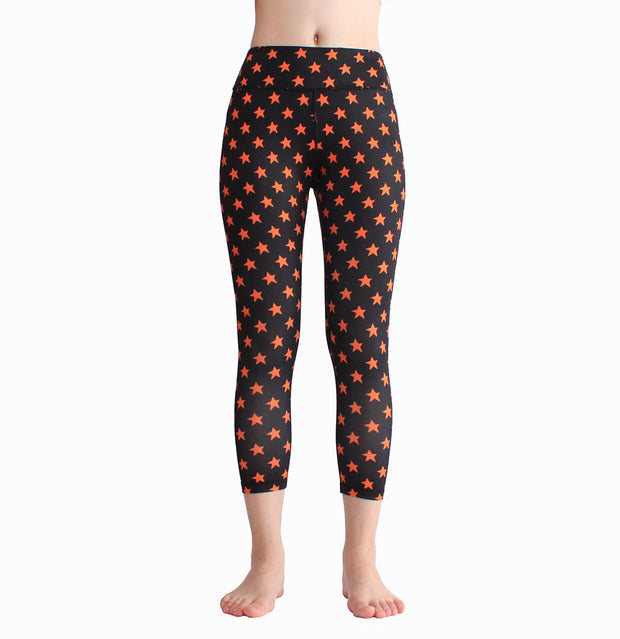 Sports running fitness yoga pants elastic printing Capris