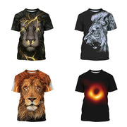 Lion digital print casual large medium and large children's round neck T-shirt