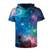 3D Star digital print hooded Pullover T-shirt sports round neck short sleeve