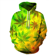 New fashion brand hemp leaf digital printing sports coat large size sweater