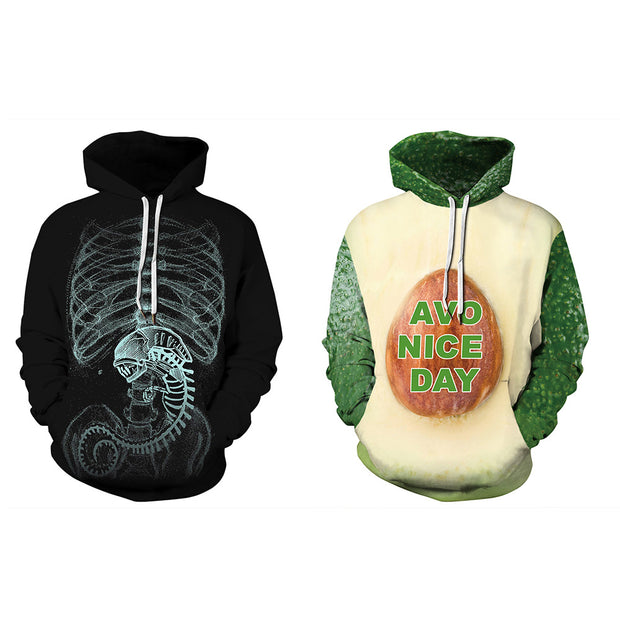 3D avocado digital printed sweater long sleeve Pullover Hooded bomber