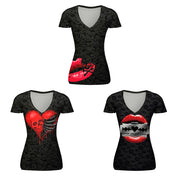 Skull digital print T-shirt short sleeve sports V-neck top