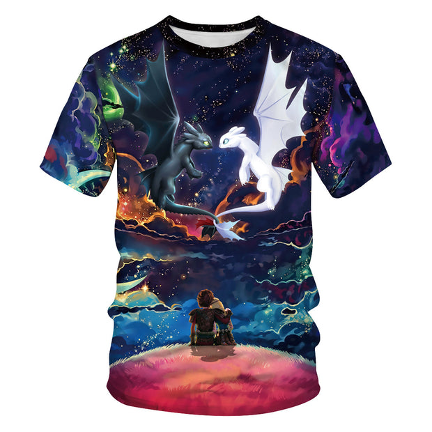 Dragon digital print summer sports round neck T-shirt