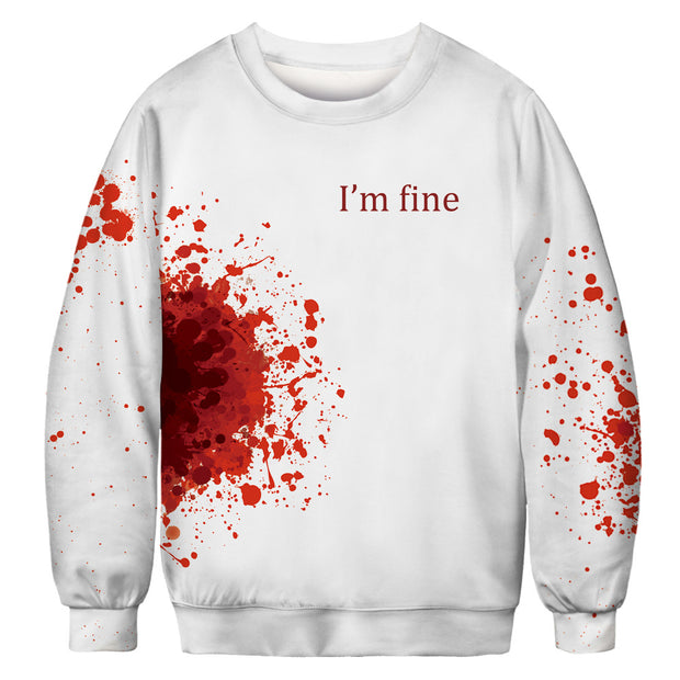 Blood drop Halloween digital printing sportswear European and American large leisure Long Sleeve Shirt