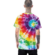 Individual color contrast tie dye printed T-shirt European and American fashionable round neck loose short sleeve