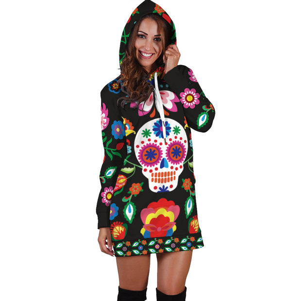 New skull digital printing European and American fashion medium and long hooded sweater women's coat