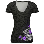 Skull red lip digital print short sleeve large sports V-neck T-shirt