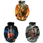 New dinosaur digital printing street fashion brand casual Hooded Sweater Set baseball suit