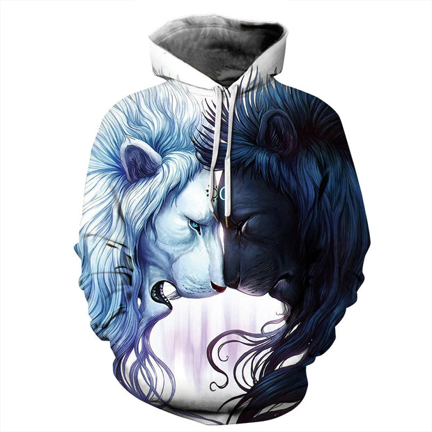 Roar lion digital print Pullover Hoodie Trend Sports large bomber