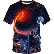Space black hole 3D digital printed breathable casual T-shirt